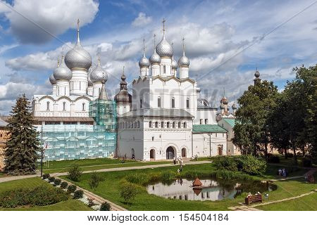 Golden Ring of Russia. Rostov Veliky. View of Assumption Cathedral of the Rostov Kremlin