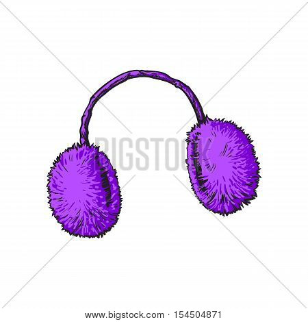 Bright purple fluffy fur ear muffs, sketch style vector illustrations isolated on white background. Hand drawn fluffy ear warmers, ear muffs made of fur, winter accessory