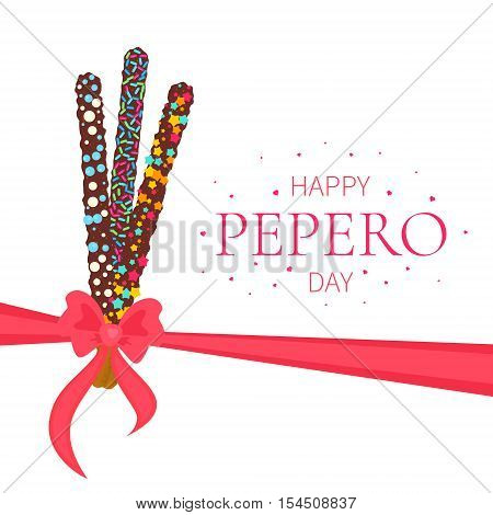 Happy Pepero Day. Pepero card design template with South Korean chocolate sticks and bow. Assorted biscuits covered with chocolate and festive sprinkles on white background. Food vector illustration.