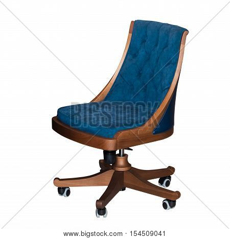 Modern rotating blue office chair isolated on white background