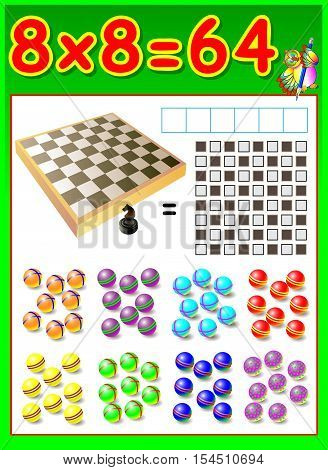 Educational page for children with multiplication table. Developing skills for counting and multiplication. Vector image.