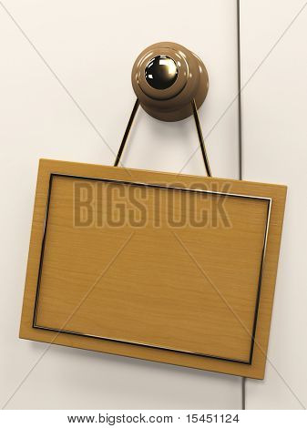 Wooden 3d tablet, hanging on the door handle