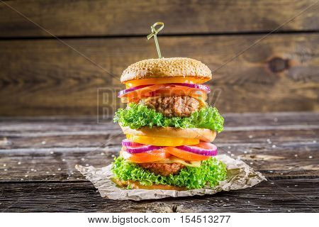 Double-decker Burger Made From Vegetables And Beef