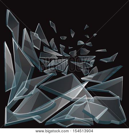 Broken glass pieces flow vector illustration. Set of glass pieces on black background and damage glass transparent