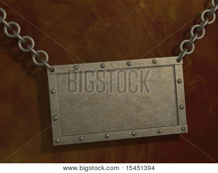 Grunge background with 3d metal tablet, suspended on circuits