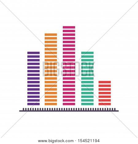 graphic bars statistics chart icon over white background. colorful design. vector illustration