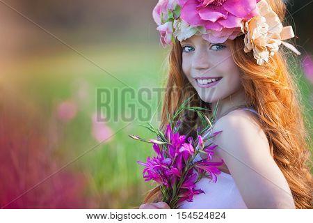 beautiful spring flower girl red head
