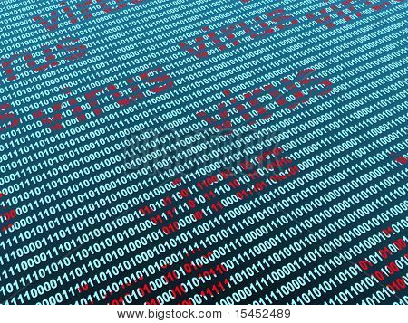 Conceptual image - virus in a binary code