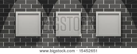 3d picture gallery on a black brick wall
