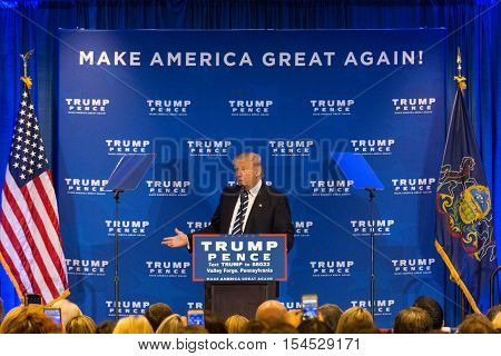King of Prussia PA - November 1 2016: Donald Trump campaigning for President promises criticizes Obamacare during campaign stop near Valley Forge in Pennsylvania.