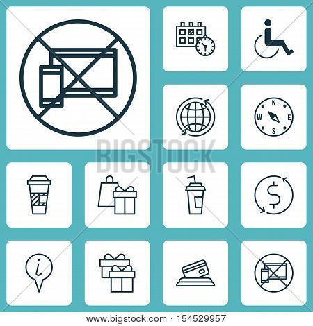 Set Of Travel Icons On Money Trasnfer, Locate And Accessibility Topics. Editable Vector Illustration