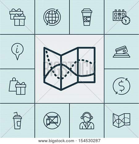 Set Of Travel Icons On Present, Info Pointer And Credit Card Topics. Editable Vector Illustration. I