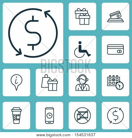 Set Of Transportation Icons On Shopping, Operator And Appointment Topics. Editable Vector Illustrati