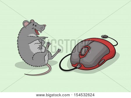 The mouse laughs on seeing a computer mouse.