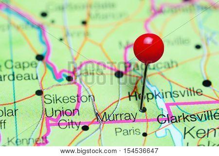 Murray pinned on a map of Kentucky, USA