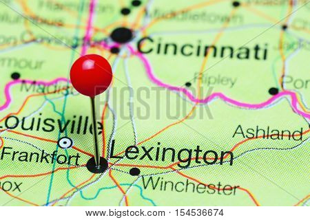 Lexington pinned on a map of Kentucky, USA