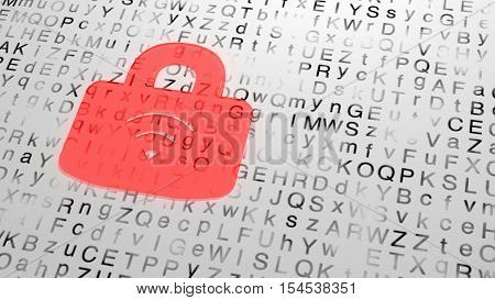 Red wireless padlock made of shiny red glass on a random white grunge letter background 3D illustration cybersecurity concept