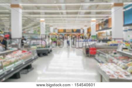 blurred Supermarket for abstract background. This is the fresh food part of the supermarket. Supermarket in Thailand can be very quiet in weekday time because of the traffic.
