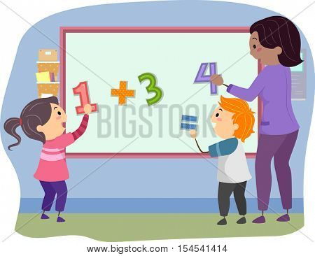Stickman Illustration of Preschool Kids Solving the Mathematical Equation on the Board