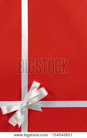 Christmas Border Red Background Gift Bow Ribbon Vertical