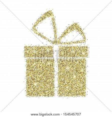 Icon of gift box with gold sparkles and glitter, glow light confetti, bright sequins, sparkle tinsel, shimmer dust. Gift box sign isolated on white background