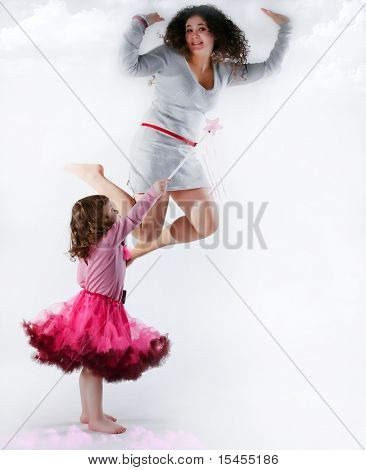 Magic Girl Rairing Her Mother With Wand Toy