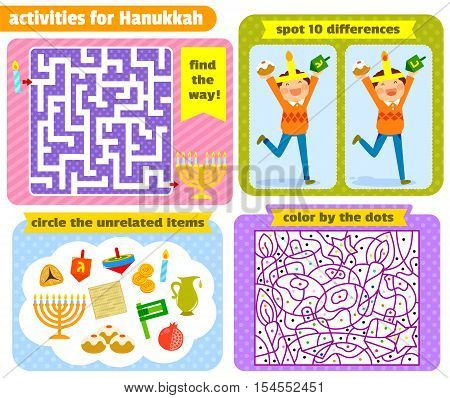 set of Hanukkah themed puzzle games for kids