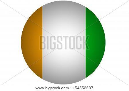 3D Cote d'ivoire flag ,Original and simple Ivory Coast flag.Nation flag