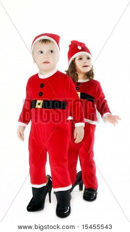 Smiling Little Children In Christmas Uniform Isolated On White