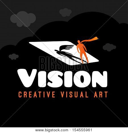 Vision symbol of visual art. Logo design vector template. Creative Vision Logotype concept. Shadow of angel with wing on white screen.