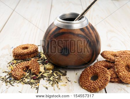 Yerba Mate Tea In A Wooden Calabash And Cookies