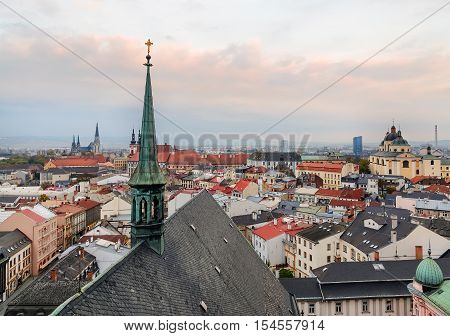 The roofs with churches in Olomouc city Czech Republic. Europe.