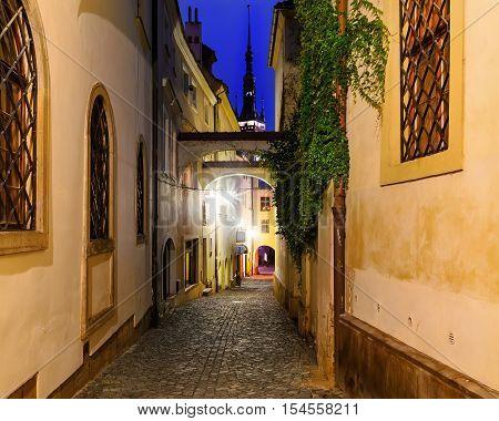 Narrow street in Olomouc in the evening Czech Republic. Europe.