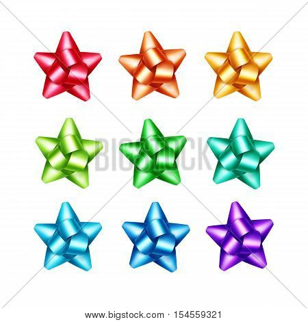 Vector Set of Bright Shiny Red Scarlet Orange Yellow Light Blue Azure Green Emerald Purple Violet Gift Ribbon Bows Close up Isolated on White Background