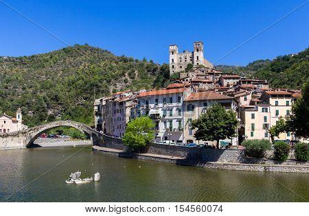 Dolceacqua Imperia. Liguria (ITALY). The Monet's bridge on the River Nervia. On the hill is located the Doria castle's.