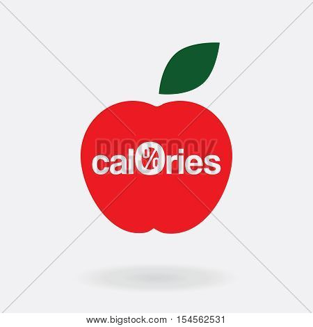 vector logo, icon, zero calories a stylized apple