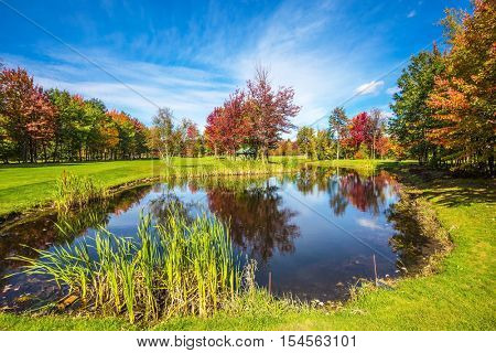 Adorable oval pond in the beautiful park. Shining day in French Canada. Red and orange autumn foliage reflected in clear water of the pond. Concept of recreational tourism