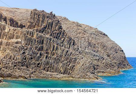 Volcanic formations on Glaronissia islets, Milos island, Greece