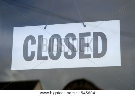 Closed Sign In A Shop Window.