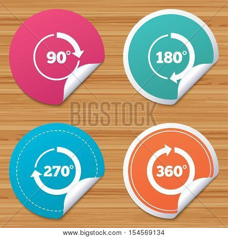 Round stickers or website banners. Angle 45-360 degrees circle icons. Geometry math signs symbols. Full complete rotation arrow. Circle badges with bended corner. Vector