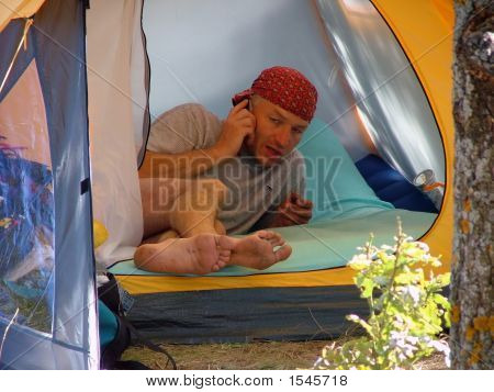 Serious Talk In Tent