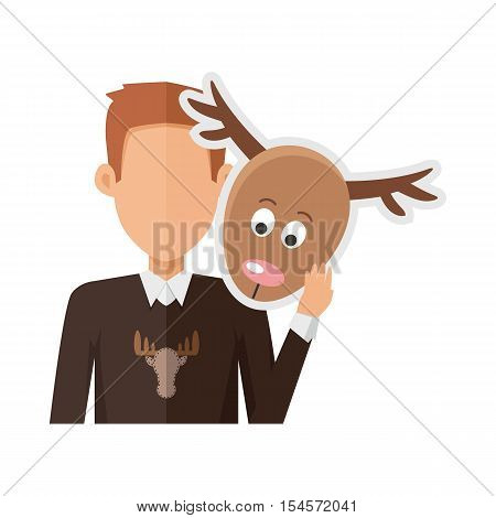 Red-head man character in sweater with deer mask in hand vector. Flat design. Masquerade animal clothing and party costume. Psychological portrait and hidden personality. Isolated on white background