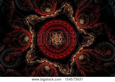 fractal abstract pattern beige velvet star with five rays of red circular pattern inside and a star and a blue and red circular patterns around on a black background.