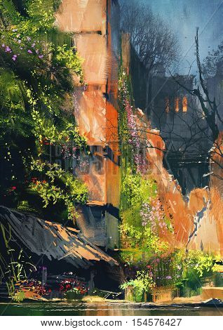digital painting of abandoned building covered with vegetation, illustration