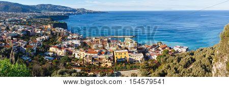 Sorrento town coast view (January). Amalfi coastline panorama Italy.