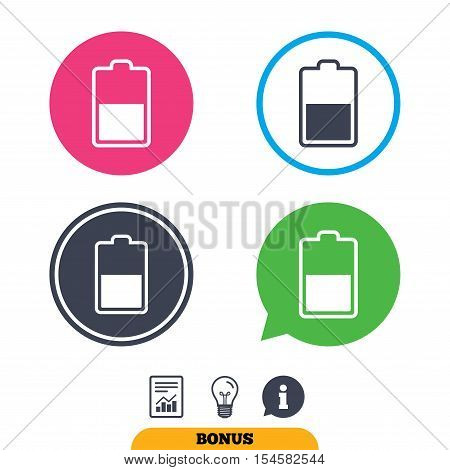 Battery half level sign icon. Low electricity symbol. Report document, information sign and light bulb icons. Vector