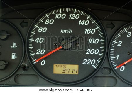 Car Dashboard With Speed And Odometer