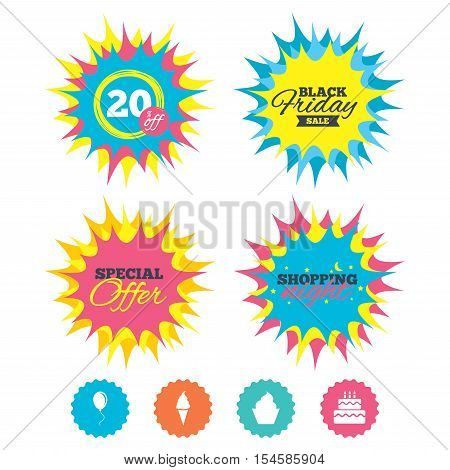 Shopping night, black friday stickers. Birthday party icons. Cake with ice cream signs. Air balloon with rope symbol. Special offer. Vector