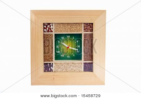 clock with seeds over
