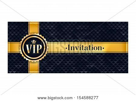 VIP party premium invitation card poster flyer. Black and golden design template. Faceted triangle pattern decorative background with gold ribbon and round badge.